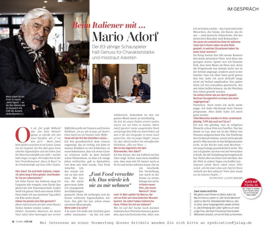 Interview Mario Adorf - Für Sie - Frau Bremm schreibt