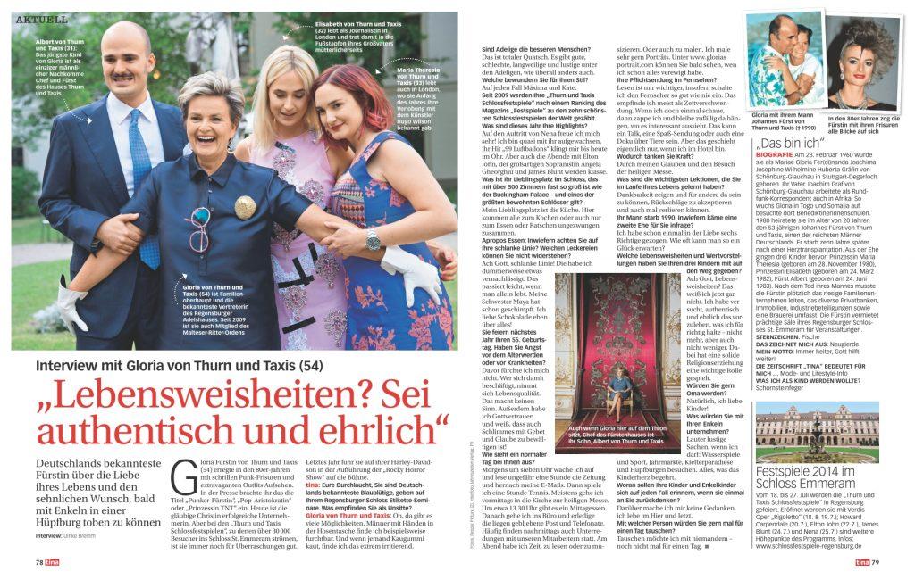 Interview Gloria von Thurn und Taxis - tina - Frau Bremm schreibt
