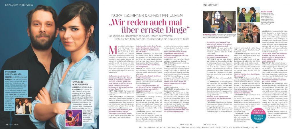 Interview Nora Tschirner, Christian Ulmen - Für Sie - Frau Bremm schreibt