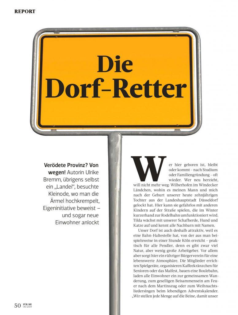 Die Dorf-Retter (Für Sie) - Service-Artikel - Frau Bremm schreibt!