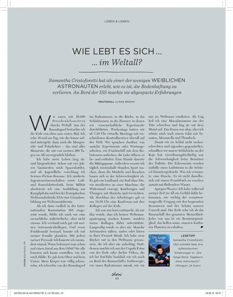 Wie lebt es sich im Weltall? (slow) - Service-Artikel - Frau Bremm schreibt!