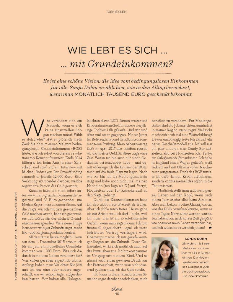 Wie lebt es sich mit Grundeinkommen? (slow) - Service-Artikel - Frau Bremm schreibt!